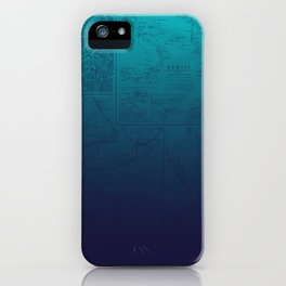 Blue Ombre Map iPhone Case