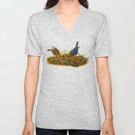 Cowbird Bird Illustration Unisex V-Neck