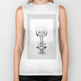 Three empty wine glasses in a row Biker Tank