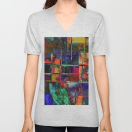 Canvas Abstract Deux Unisex V-Neck
