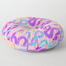 Neon Snakes on Pink Floor Pillow