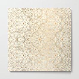 Golden Mandala Background Pattern Metal Print