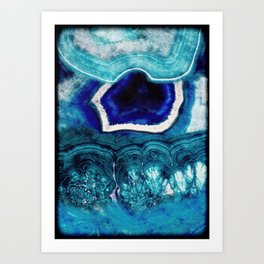 Abstract Blue Agates Art Print