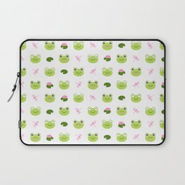 Frogs, Dragonflies and Lilypads on White Laptop Sleeve