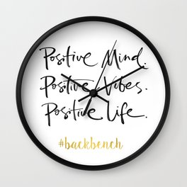 Printable Art, Positive Mind Positive Vibes Positive Life, Wall Art Quotes, College Dorm Decorations Wall Clock