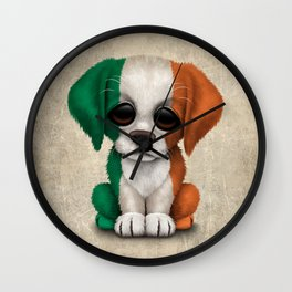 Cute Puppy Dog with flag of Ireland Wall Clock