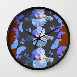 LILAC-PURPLE BLUE BUTTERFLIES  BROWN ART DESIGN Wall Clock