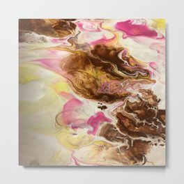 Chocolate with Pink and Yellow Marble Metal Print