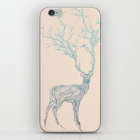black iPhone & iPod Skins featuring Blue Deer by Huebucket