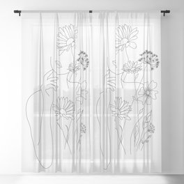 Minimal Line Art Woman with Flowers III Sheer Curtain