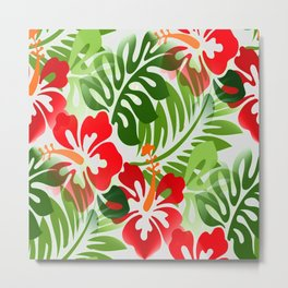 Hawaiian Flowered Shirt Pattern Red Green Metal Print