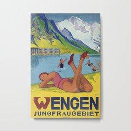Wengen Jungfraugebiet Vintage Travel Poster Metal Print