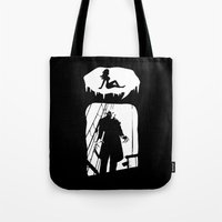 randy c Tote Bags featuring Randy Vampire by Because Skulls