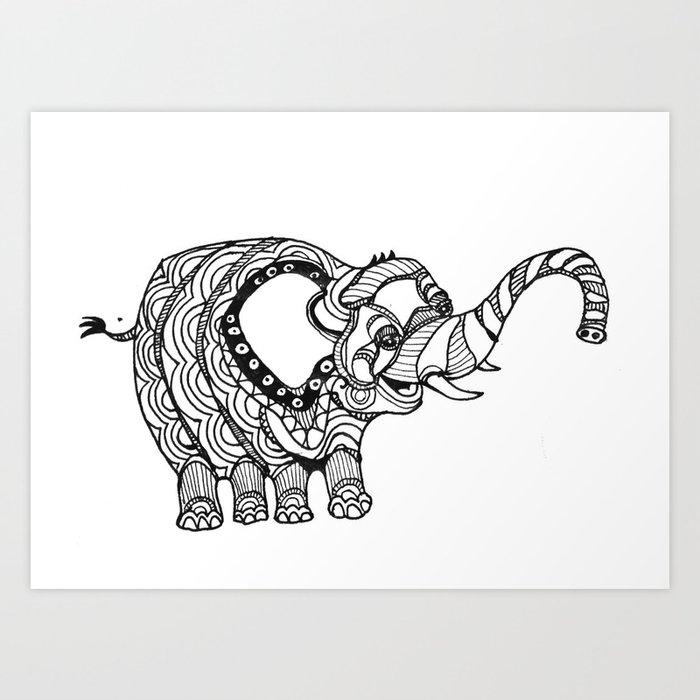 Henna Elephant Art Print By Twowander Society6
