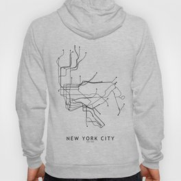 New York City White Subway Map Hoody