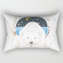 Polar Bear King Of North Watercolor Rectangular Pillow