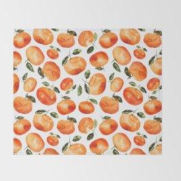 Watercolor tangerines Throw Blanket