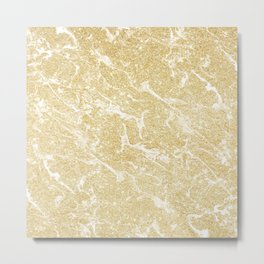 Modern faux gold glitter stylish marble effect Metal Print