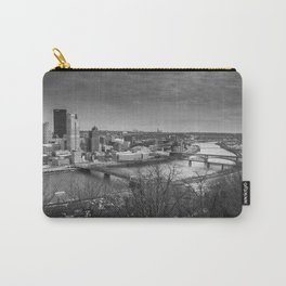 Pittsburgh City Skyline Overlook Black and White Carry-All Pouch