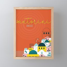 Santorini Travel Art Framed Mini Art Print