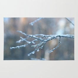 Frozen, snow covered branches Rug