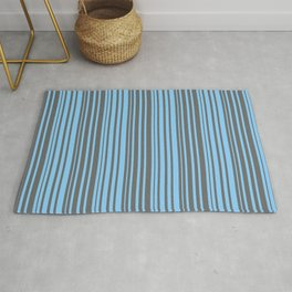 Dim Gray and Light Sky Blue Colored Striped/Lined Pattern Rug