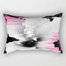 Floral glitch | modern black white flower photography pink watercolor brushstroke glitch effect Rectangular Pillow