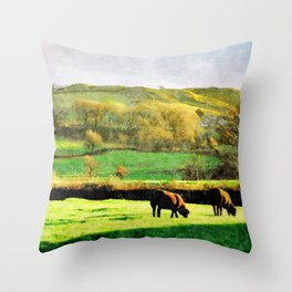 Black Sheep Grazing in Evening Sunshine in Lake District, UK Watercolor Throw Pillow