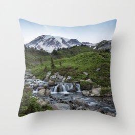 Edith Creek and Mount Rainier Throw Pillow
