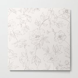 Peony seamless pattern. Metal Print