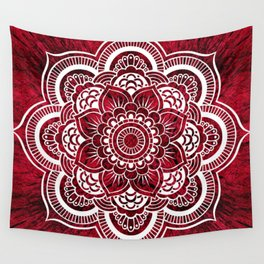 Mandala Red Colorburst Wall Tapestry