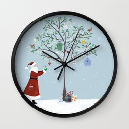 Santa Claus Dressing Tree Wall Clock