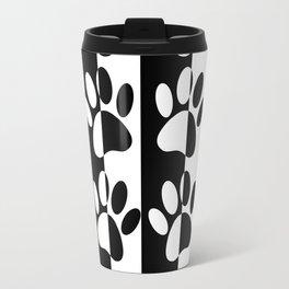 Black And White Dog Paws And Stripes Travel Mug