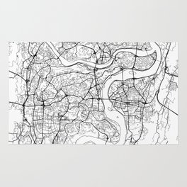 Chongqing Map White Rug