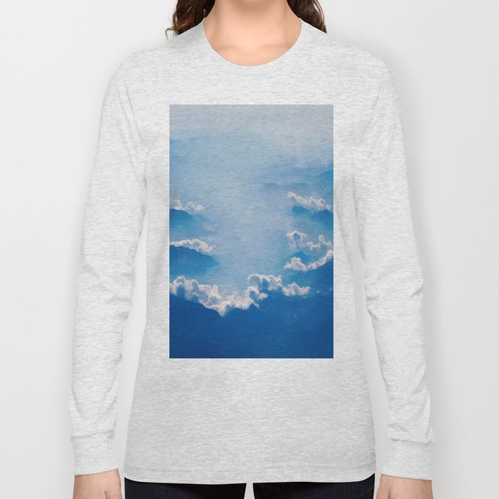 Blue mountains, white clouds Long Sleeve T-shirt
