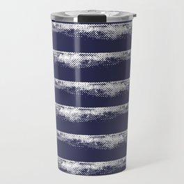 Irregular Stripes Dark Blue Travel Mug
