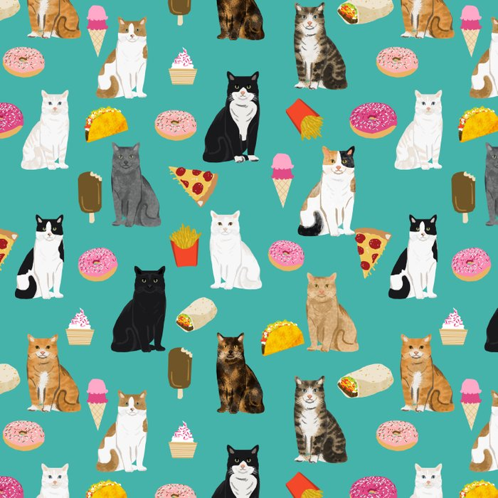 Cat breeds junk foods ice cream pizza tacos donuts purritos feline fans gifts Comforters