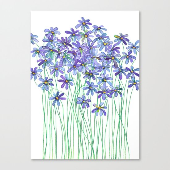 Purple Daisies in Watercolor & Colored Pencil Canvas Print