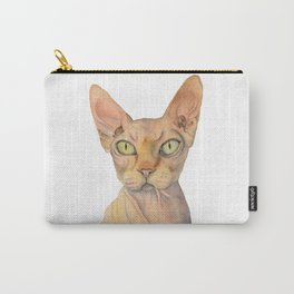 Sphynx Cat Watercolor Portrait Carry-All Pouch