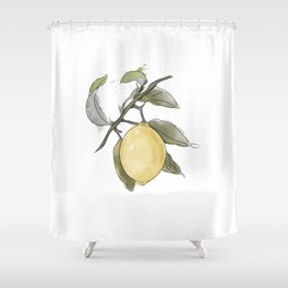 Original Lemon Watercolor Painting #Fruit Shower Curtain