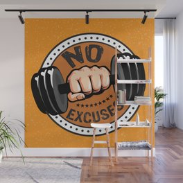 No Excuses Gym Fitness Motivational Quote Wall Mural