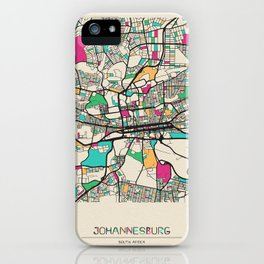 Colorful City Maps: Johannesburg, South Africa iPhone Case
