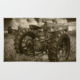 Abandoned Old Farmall Tractor in Sepia Tone Rug