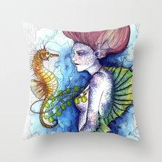 the seahorse's friend Throw Pillow
