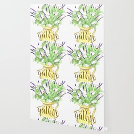 Watercolor painting Yellow vase of purple flowers, Gather calligraphy quote Wallpaper