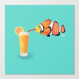 The Clown Fish Drinks Canvas Print