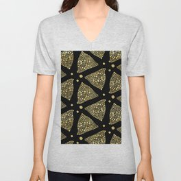 Abstract Triangles Gold Texture & Black Unisex V-Neck