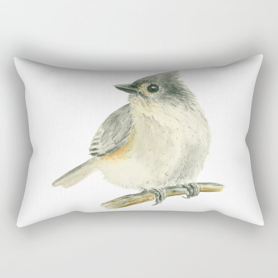Tit bird, watercolor painting Rectangular Pillow
