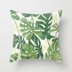 Vintage Monstera leaves Throw Pillow