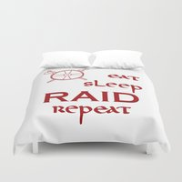 vikings Duvet Covers featuring eat-sleep-RAID-repeat red, Vikings by ZsaMo Design
